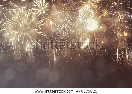 Fantastic colorful fireworks with  copyspace. Background for New Year, Independence Day or other celebrations #470395025