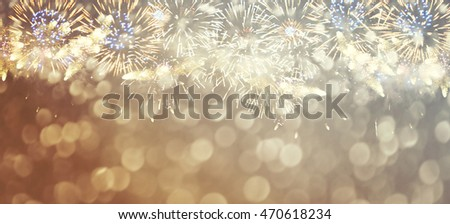 Fantastic colorful fireworks with  copyspace. Background for New Year, Independence Day or other celebrations #470618234
