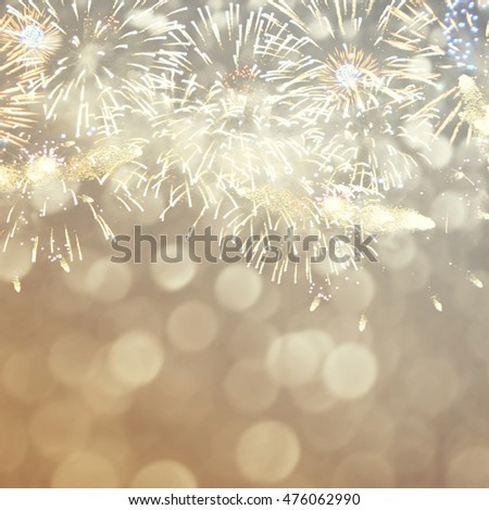 Fantastic colorful fireworks with  copyspace. Background for New Year, Independence Day or other celebrations #476062990
