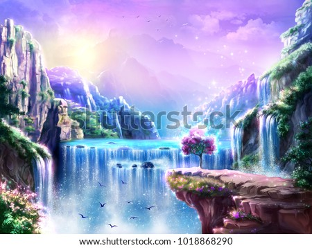 Fantastic fairy tale background, digital art. Illustration of a mountain dawn landscape with waterfalls and birds. Can be used as location for games, greeting cards or illustration for books