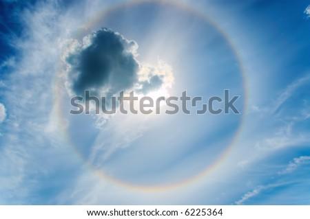 Fantastic Halo-shaped rainbow in the sky