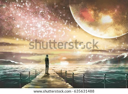 Stock Photo Fantastic illustration with an unknown planet and Milky Way, stars. man is standing on pier on the sea and looking a space landscape. Painting.