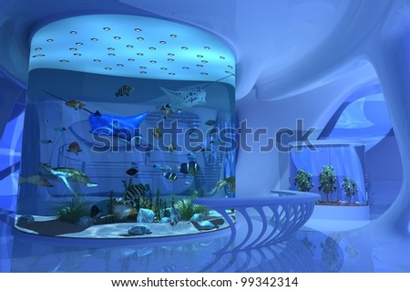 Fantastic interior of the aquarium.