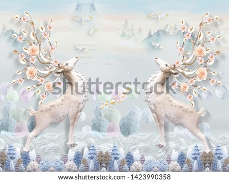 Fantastic landscape illustration, colorful trees, white birds, two large mirrored deer with blooming horns