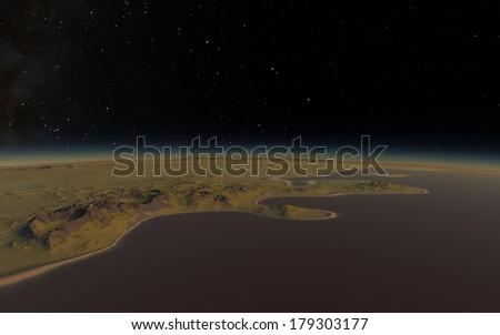 Fantastic landscape in deep space - stock photo