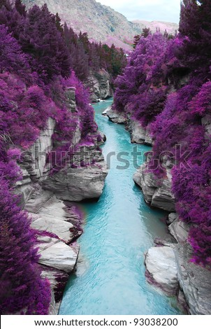 Fantastic landscape purple pine forest mountain and blue stream, beauty nature scenery view background. #93038200