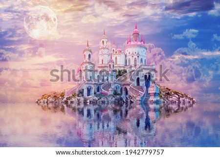 fantastic landscape with moon. Wonderland background. beautiful island with an ancient castle is reflected in the water against the sunset.