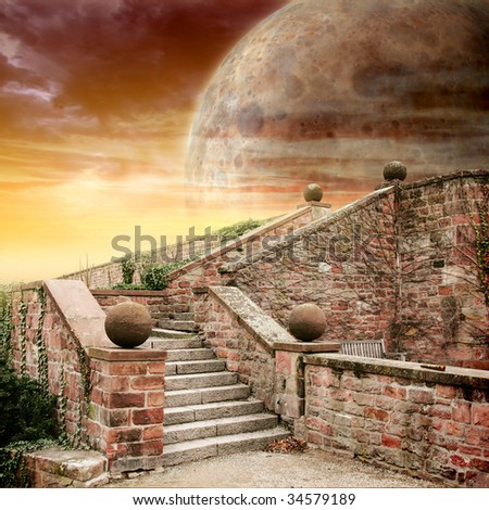 Fantastic landscape with planet and  front staircase for your poster