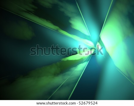 Fantastic laser show with blue and green beams