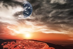 Fantastic martian landscape . Planet Mars