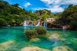 Fantastic mediterranean touristic destination with stunning Krka waterfalls, near Sibenik touristic resort, Dalmatia, Croatia, Europe