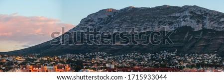 Fantastic Montgo mountain in Denia sunset view Foto stock ©