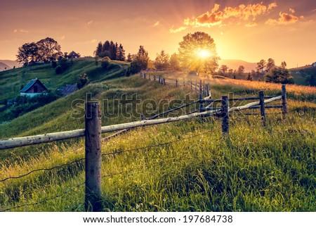 Fantastic morning countryside landscape. Colorful sky. Carpathian, Ukraine, Europe. Beauty world.