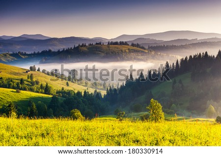 Fantastic morning mountain landscape. Colorful sky. Carpathian, Ukraine, Europe. Beauty world. - Shutterstock ID 180330914