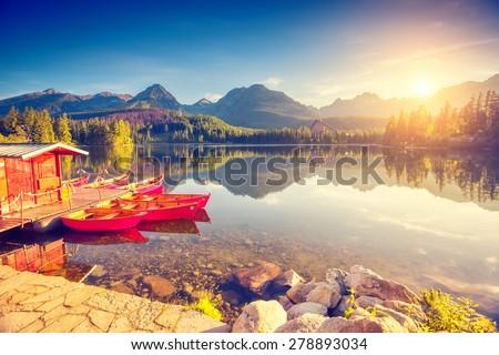 stock photo fantastic mountain lake in national park high tatra strbske pleso slovakia europe dramatic 278893034 - Каталог — Фотообои «Природа, пейзаж»