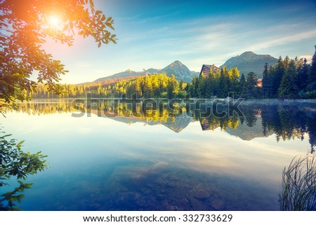 fantastic mountain lake in...