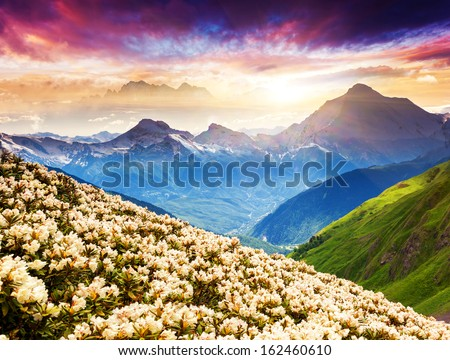 Fantastic Mountain Landscape With Colorful Cloud. Dramatic Overcast Sky. Upper Svaneti, Georgia, Europe. Caucasus Mountains. Beauty World.