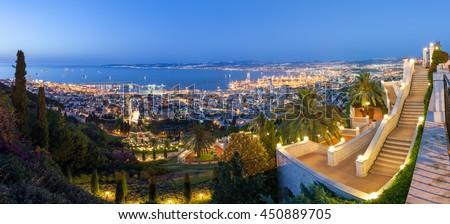 Fantastic panoramic view of Mediterranean coast in the evening. Haifa bay. Travel in Israel.