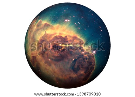 Fantastic planet, isolated on white background. Elements of this image were furnished by ESA-Hubble. For all purposes