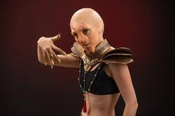 Fantastic Reptilian Girl. Creative Make up like Alien or Superhero Movie.