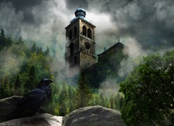 Fantastic scenery with church in clouds and raven