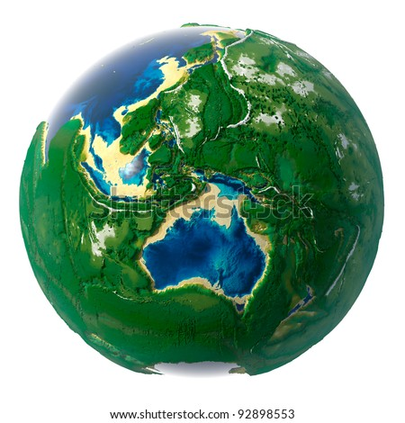 Fantastic suggestion - it would be if the Earth's continents and oceans would have changed places, where the mountains were now underwater depressions. New Globe of the Earth, isolated on white