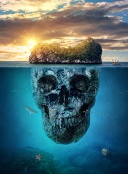 Fantastic tropical island with scull rock underwater at sunset