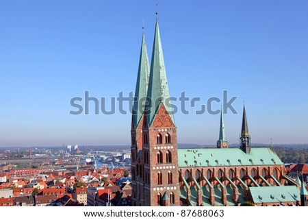 fantastic view across the old town of L�¼beck, Germany