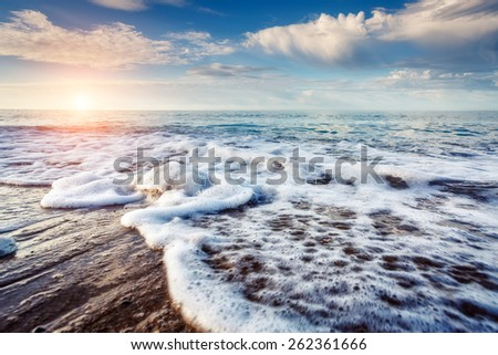 Fantastic view azure sea glowing by sunlight. Dramatic morning scene. Location Makauda, Sciacca. Sicilia, southern Italy. Beauty world. #262361666