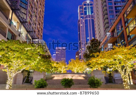 Fantastic view of modern city at night in Seattle, WA. - stock photo
