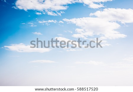 Fantastic view of the azure sky on a sunny day with fluffy clouds. Picturesque and gorgeous scene. Ecology landscape - climate change in the environment. Artistic picture. Beauty world. #588517520