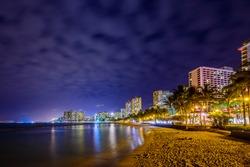Fantastic view of tropical ocean at night in Honolulu, Hawaii, USA