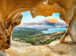 Fantastic view on Palau  from popular travel destination Bear Rock (Roccia dell'Orso). Location: Palau, Province of Olbia-Tempio, Sardinia, Italy, Europe