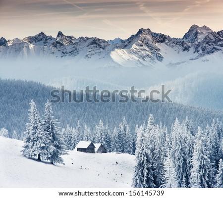 Fantastic winter landscape. Dramatic overcast sky. Creative collage. Beauty world. #156145739
