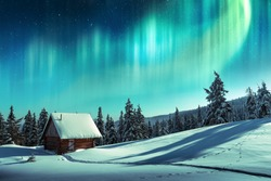 Fantastic winter landscape with wooden house in snowy mountains and northen light in night sky