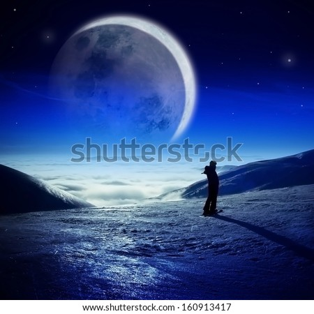 Stock Photo Fantastic winter night landscape in high mountains over the clouds, Woman watching majestic huge moon