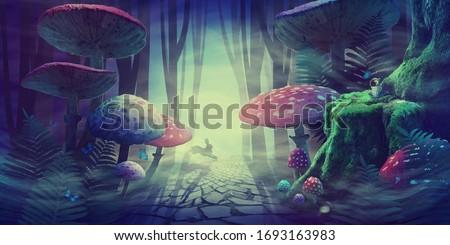 fantastic wonderland forest landscape with road, mushrooms, ferns. white rabbit runs in the fog among the trees. illustration