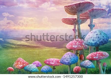 "fantastic wonderland landscape with mushrooms. illustration to the fairy tale ""Alice in Wonderland"""