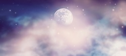 Fantastical fantasy background of magical deep purple night sky with moon, shining stars and mysterious clouds. Idyllic tranquil fabulous panoramic scene. Photo of moon is taken by me with my camera.