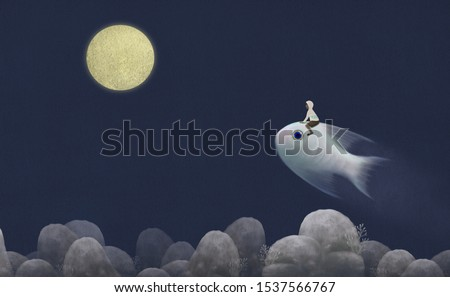 fantasy A boy riding cute big fish to  the moon in nature landscape, imagination surreal painting illustration, art, freedom concept