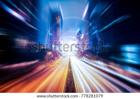 Fantasy abstract motion speed effect on city