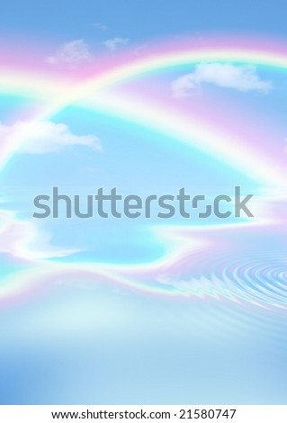 Fantasy abstract of double rainbows against a blue sky with reflection over rippled water.