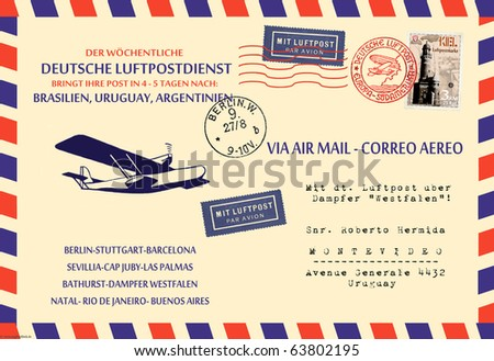 Fantasy Air Mail Collage - stock photo