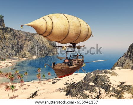 Fantasy airship over a coastal landscape Computer generated 3D illustration