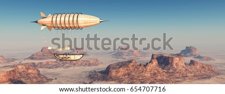 Fantasy airship over a desert Computer generated 3D illustration