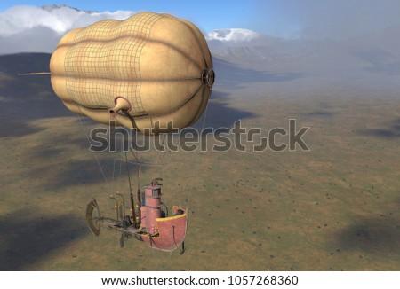 Fantasy Airship Zeppelin Dirigible Balloon 3D illustration
