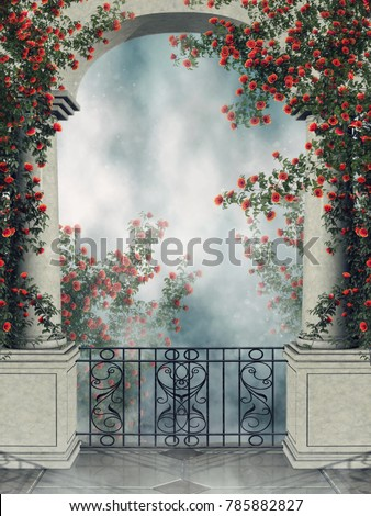 Fantasy arch with a balcony and colorful rose vines. 3D illustration.