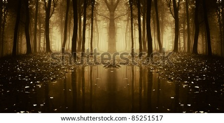 fantasy autumn forest with trees reflecting in water