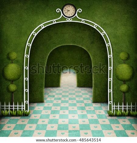 stock photo fantasy background green maze with an arch and tree 485643514 - Каталог — Фотообои «Балконы, арки»