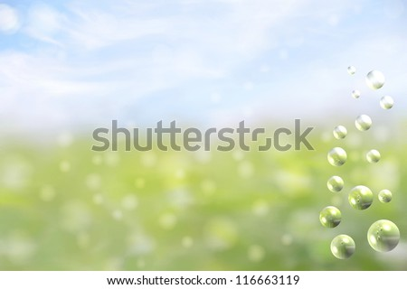 fantasy background with a soft bokeh of the sky and grass with waterbubbles on the side